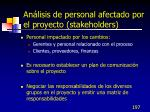 an lisis de personal afectado por el proyecto stakeholders