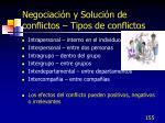 negociaci n y soluci n de conflictos tipos de conflictos