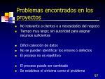 problemas encontrados en los proyectos