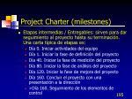 project charter milestones