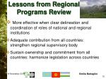 lessons from regional programs review