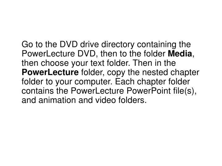 Go to the DVD drive directory containing the PowerLecture DVD, then to the folder