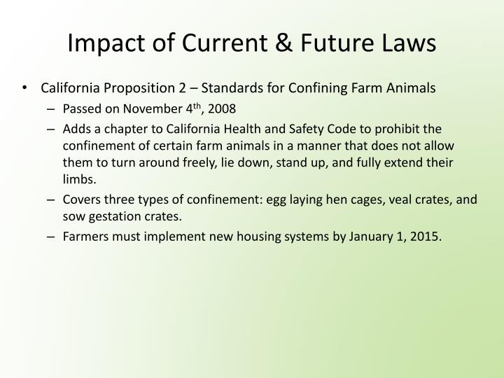 Impact of Current & Future Laws