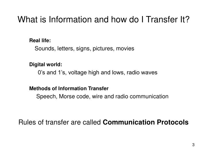 What is information and how do i transfer it