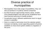 diverse practice of municipalities
