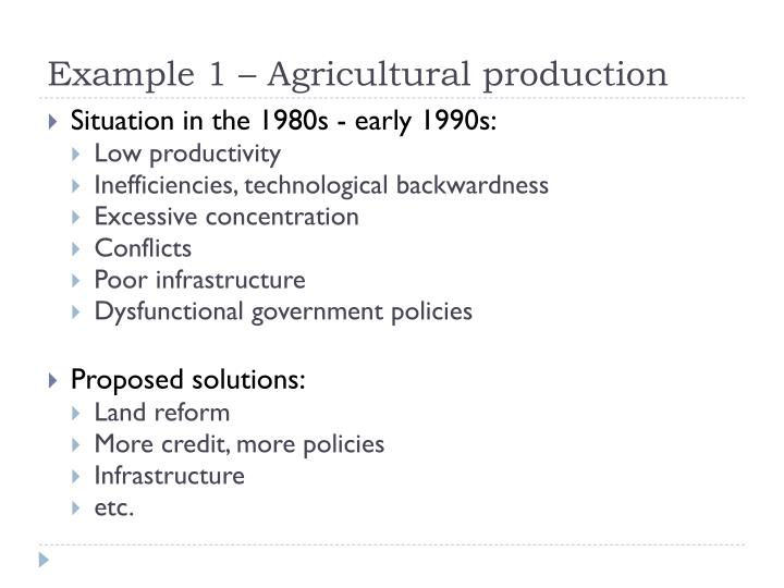 Example 1 – Agricultural production