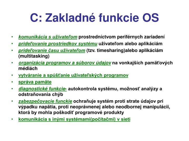 C: Zakladné funkcie OS