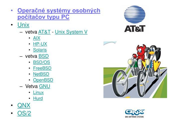 Operačné systémy osobných počítačov typu PC