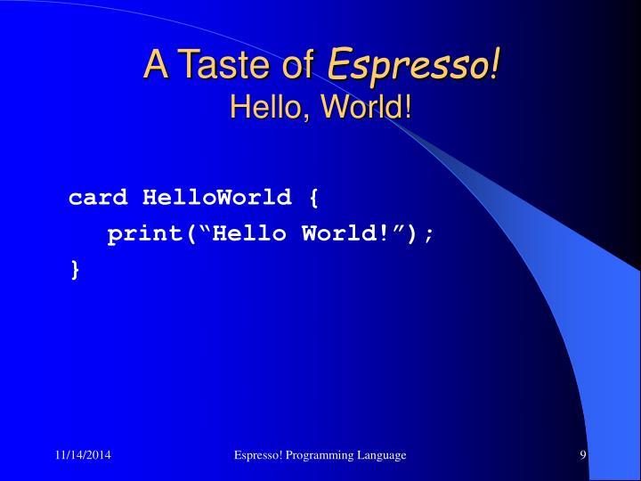 card HelloWorld {