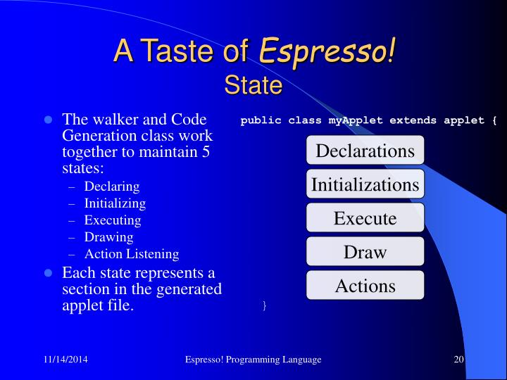The walker and Code Generation class work together to maintain 5 states: