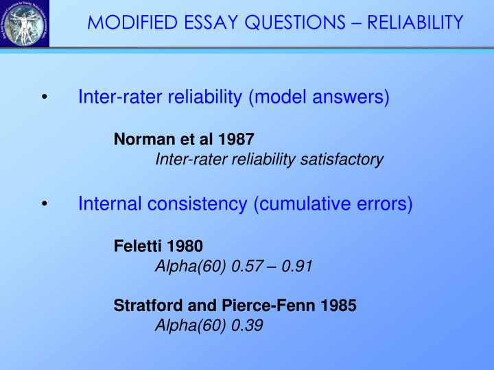 Inter-rater reliability (model answers)