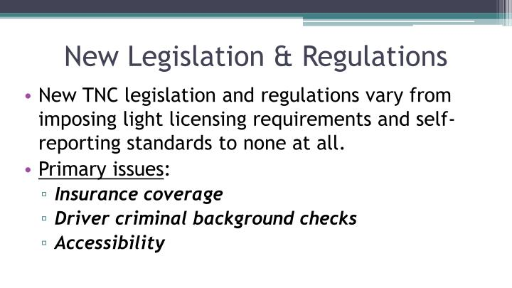 New Legislation & Regulations