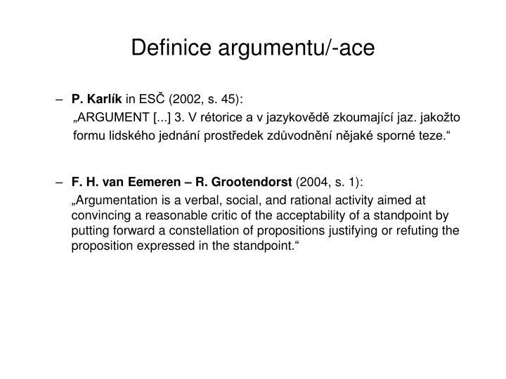 Definice argumentu ace