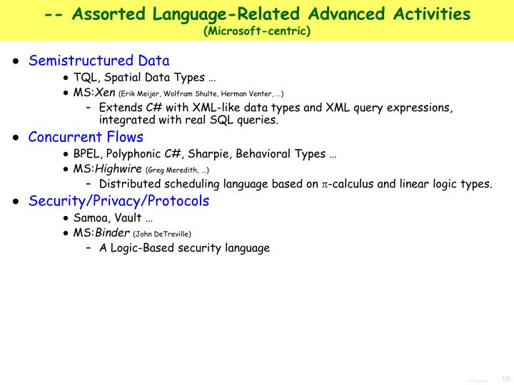-- Assorted Language-Related Advanced Activities