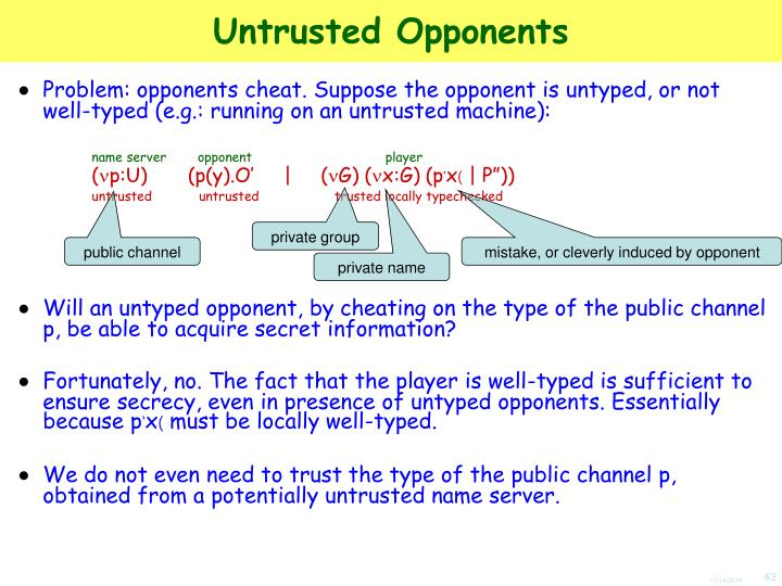 Untrusted Opponents