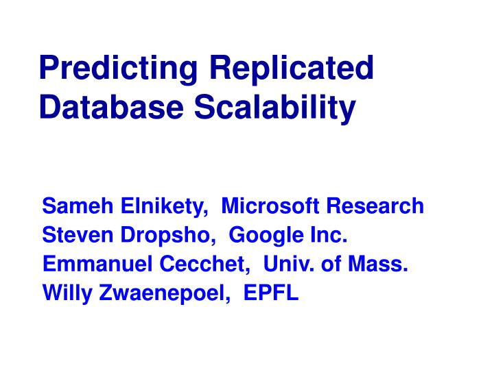 predicting replicated database scalability n.