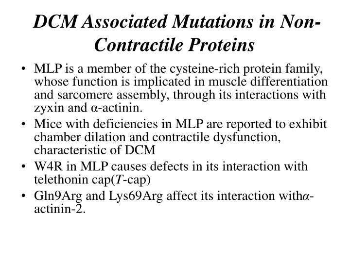 DCM Associated Mutations in Non-Contractile Proteins