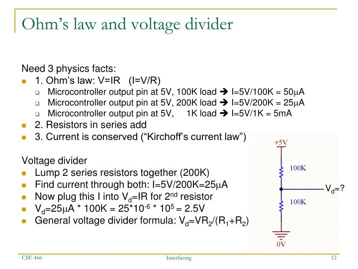 Ohm's law and voltage divider