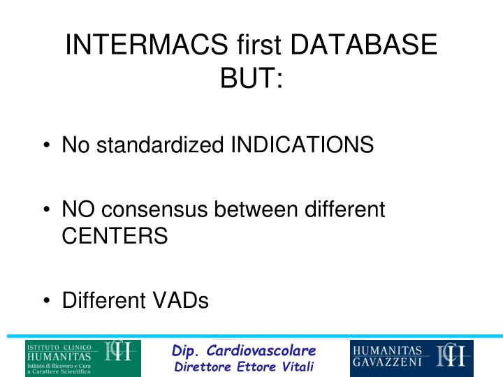 INTERMACS first DATABASE