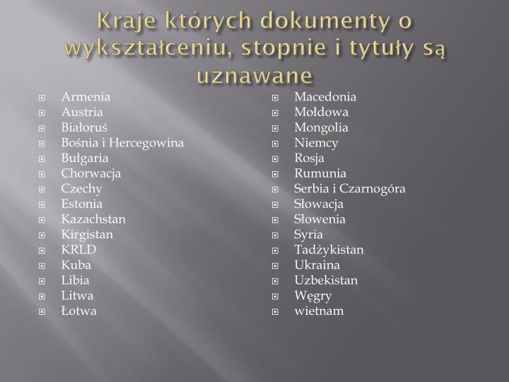 Kraje których dokumenty o wykształceniu, stopnie i tytuły są uznawane
