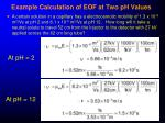 example calculation of eof at two ph values