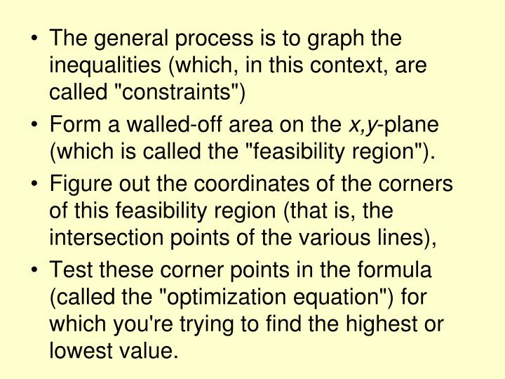 "The general process is to graph the inequalities (which, in this context, are called ""constraints"")"