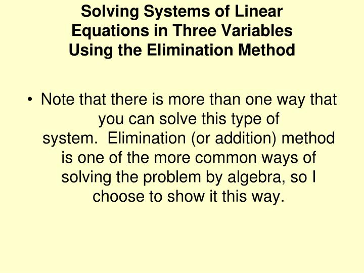 Solving Systems of Linear