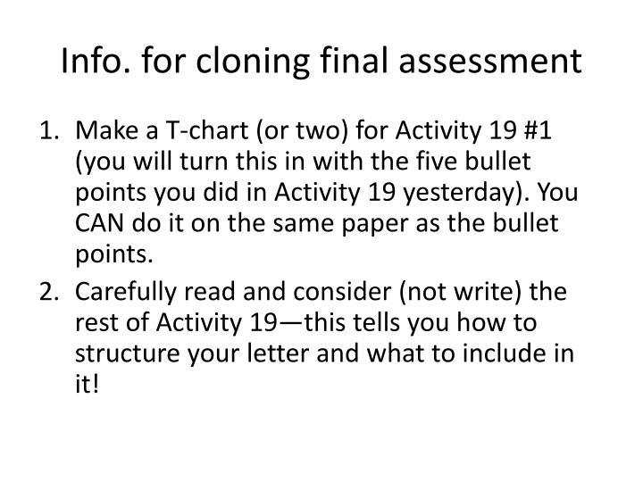Info. for cloning final assessment