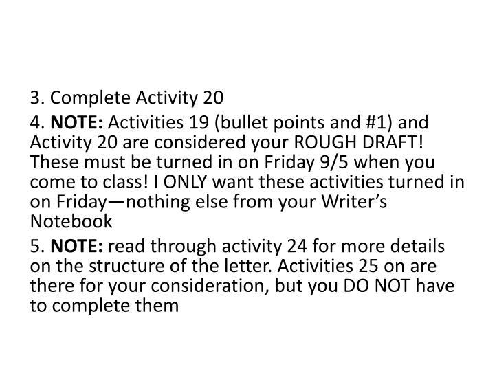 3. Complete Activity 20
