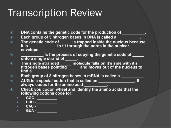 Transcription Review