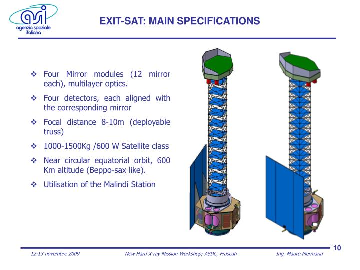 EXIT-SAT: MAIN SPECIFICATIONS