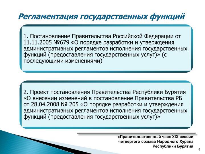 Регламентация государственных функций