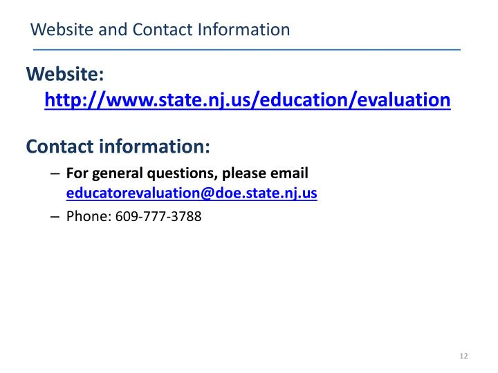 Website and Contact Information