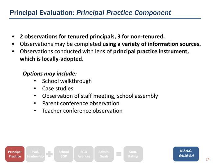 Principal Evaluation: