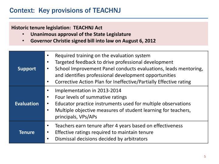 Context:  Key provisions of TEACHNJ