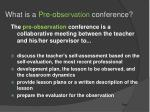 what is a pre ob servation conference
