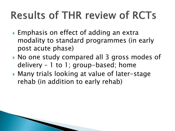 Results of THR review of RCTs