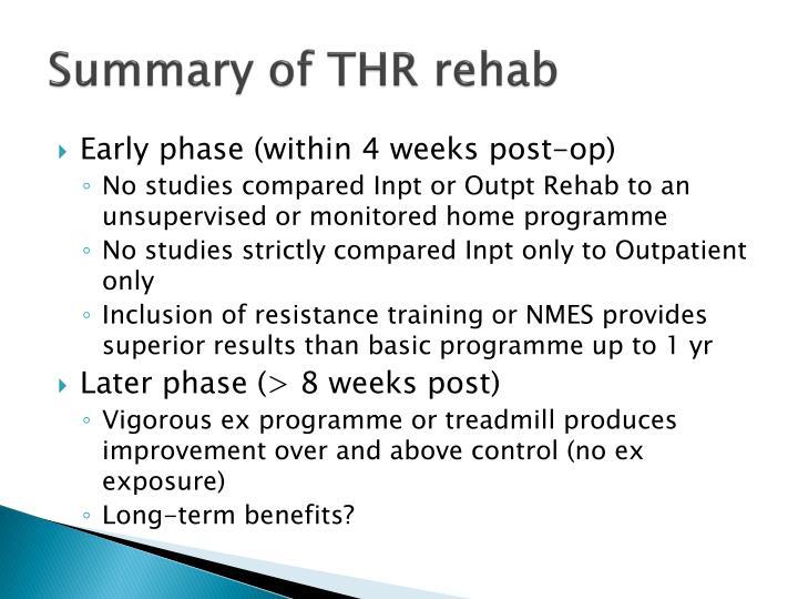 Summary of THR rehab
