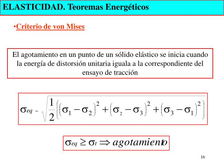 ELASTICIDAD. Teoremas Energéticos
