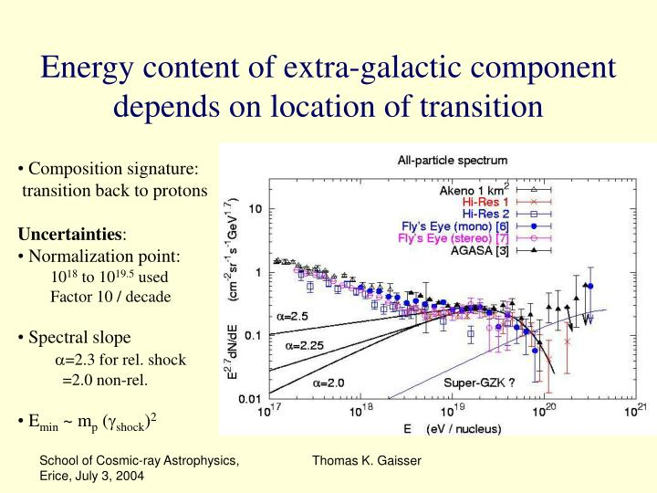Energy content of extra-galactic component depends on location of transition