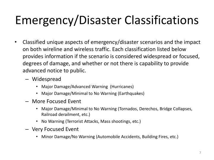 Emergency/Disaster Classifications