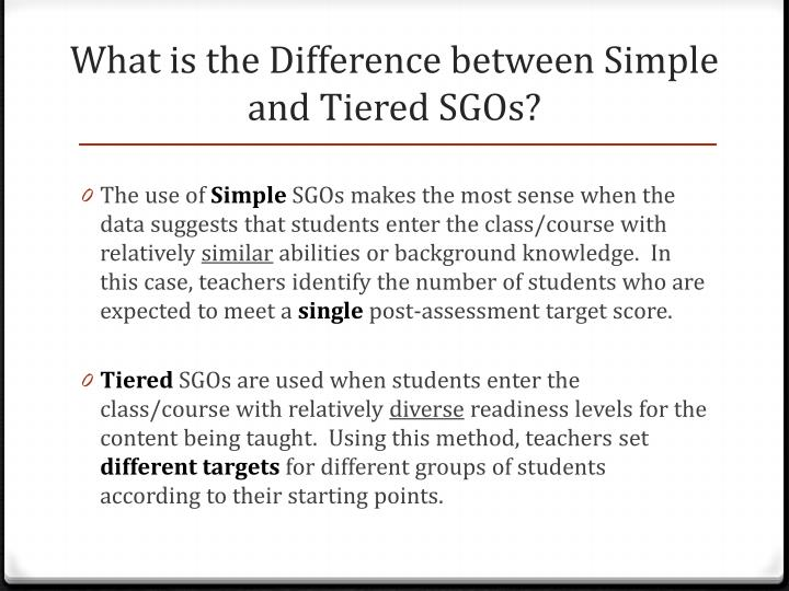 What is the Difference between Simple and Tiered SGOs?