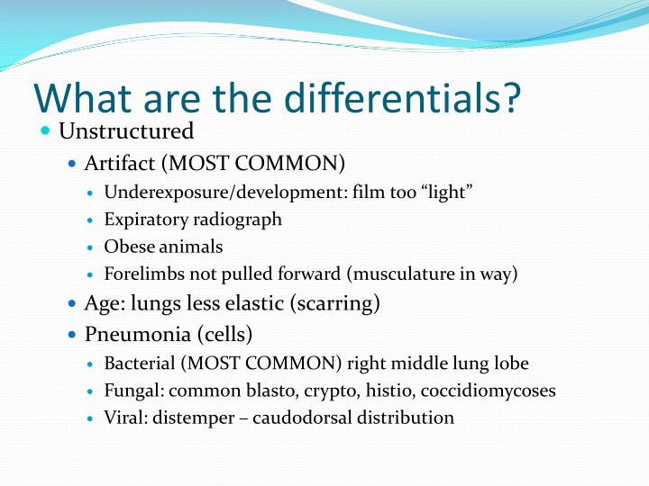 What are the differentials?