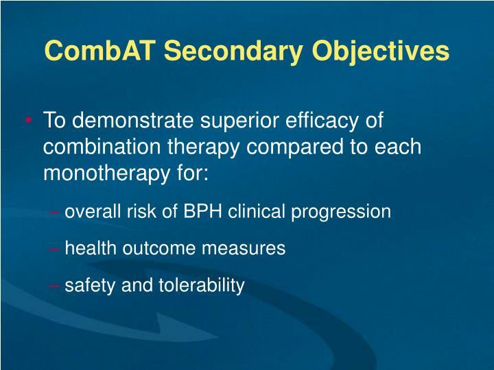 CombAT Secondary Objectives