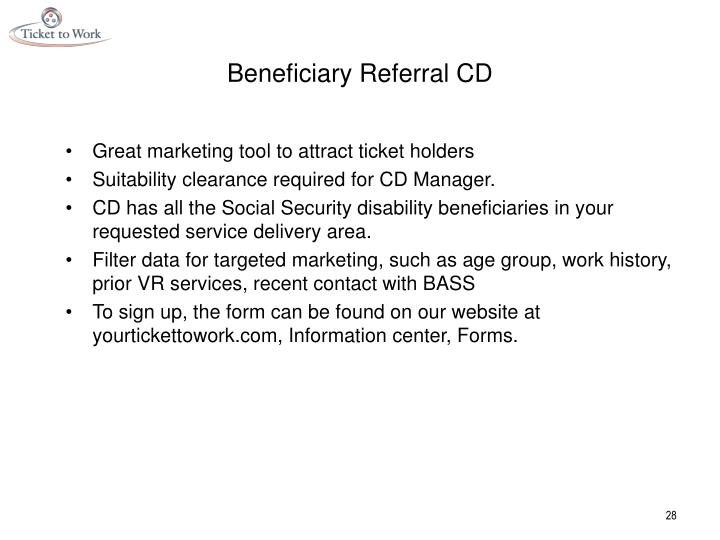 Beneficiary Referral CD