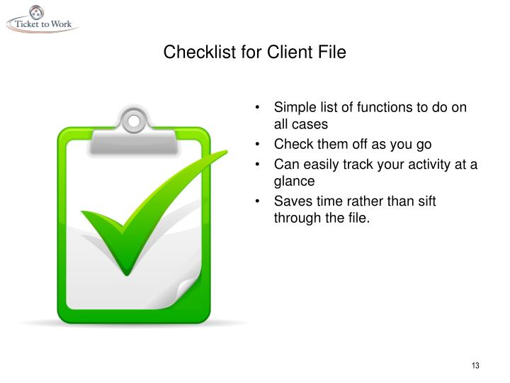 Checklist for Client File