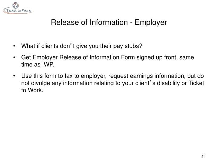 Release of Information - Employer