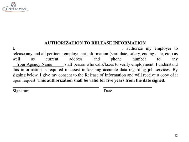AUTHORIZATION TO RELEASE INFORMATION