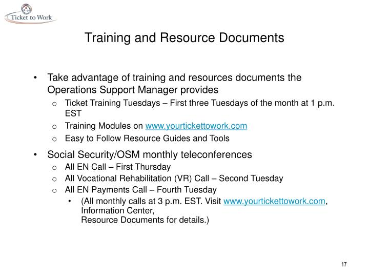 Training and Resource Documents