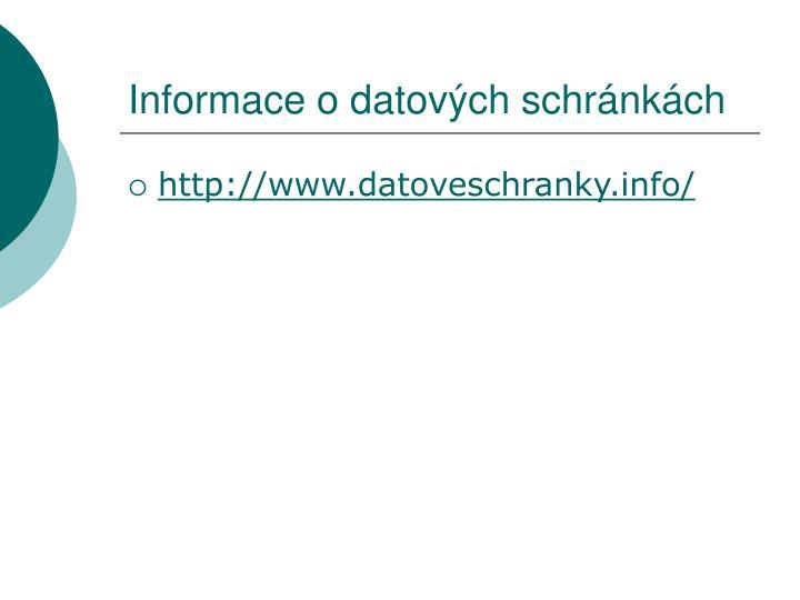 Informace o datových schránkách